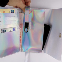 Holographic Long Wallet iphone Samsung.Smart Phone Case Pouch Mini Envelope Clutch Bag Silver Vegan Patent PU Leather Purse Handbag Hologram