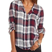 Plaid Flannel Pullover Tunic Top