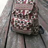 Tribal Bag Boho Ikat Abstract Native Design Bagpack Ethnic Rucksack Hippie Folk Gypsy Handwoven Handmade Thai Tapestry Beach bag Purse Hip