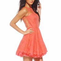 Coral Flare Dress with Mesh Neckline