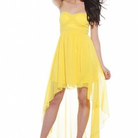 Bright Yellow Chiffon Strapless High-Low Dress