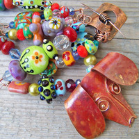 Artisan Lampwork Bead and Copper Dog Necklace