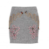 Embroidered tweed miniskirt