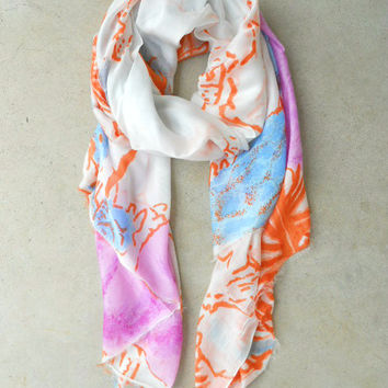 Abstract Print Scarf by Evelyn K [6024] - $33.60 : Vintage Inspired Clothing & Affordable Dresses, deloom | Modern. Vintage. Crafted.