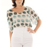POLKA DOT OPEN SLEEVE BLOUSE @ KiwiLook fashion
