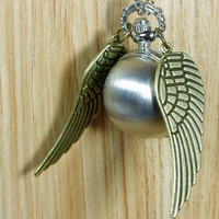 harry potter silver snitch necklace Enchanted Steampunk brass Double Sided wings Pocket Watch Necklace