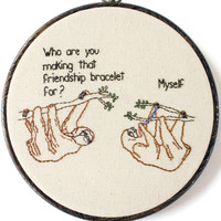 "Friendship Sloths Hand Embroidery - 8"" Hoop"