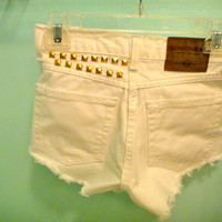 White denim shorts gold studded