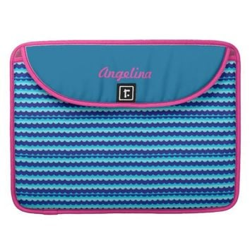 Blue Waves & Pink Hearts Mac Book Sleeve