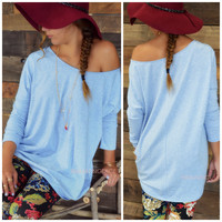 Country Glades Heather Blue Long Sleeve Basic Top