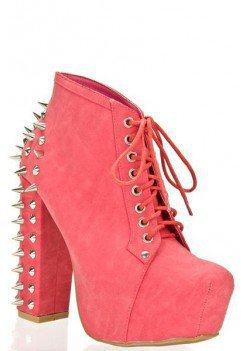 SPIKE HEEL LACE UP BOOTIE WITH STUDS AND SPIKES ACCENT @ KiwiLook fashion