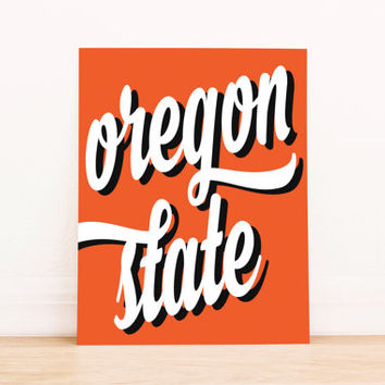 Oregon State Art PrintableTypography Poster Dorm Decor Apartment Art Home Decor Office Poster