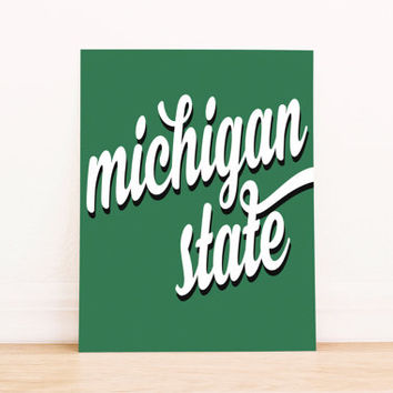 Michigan State Art PrintableTypography Poster Dorm Decor Home Decor Office Decor Poster