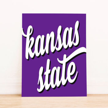 Kansas State Art PrintableTypography Poster Dorm Decor Home Decor Office Decor Poster