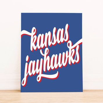 Kansas Jayhawks Art PrintableTypography Poster Dorm Decor Home Decor Office Decor Poster