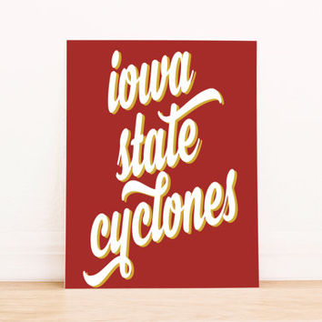 Iowa State Cyclones Art PrintableTypography Poster Dorm Decor Home Decor Office Decor Poster