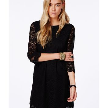 Missguided - Diahanna Black Crochet Shift Dress