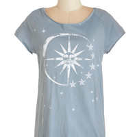 ModCloth Cosmic Mid-length Short Sleeves Smitten Under The Stars Tee