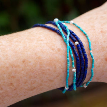 Thin turquoise wrap bracelet Micro bead necklace convertible jewellery Genuine turquoise and seed pearl Very small bead Minimalist Aqua blue