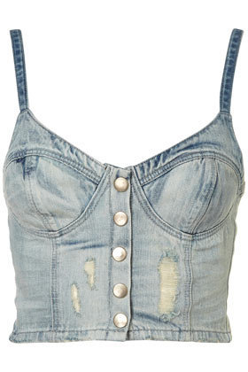 MOTO Denim Bralet - Tops  - Clothing