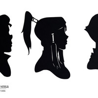 Legend of Korra Hand-cut Paper Silhouettes (Korra, Bolin, and Mako Set)