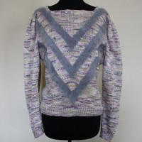 Vintage Sweater- Pink Gray Purple Top