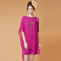 Asymmetrical Sleeve Silk Dress - Fashion Destination|Thisfind.com