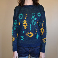 Vtg 80s Le Tigre Tribal Print Sweater Sml