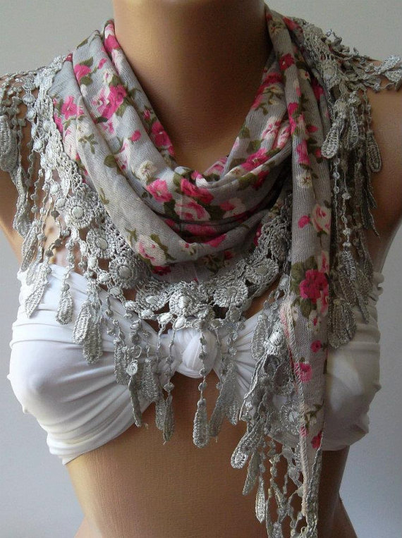 Grey - flowered - Elegance  Shawl / Scarf with Lacy Edge,