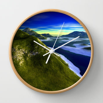 Oceanic Mountain-line Wall Clock by Texnotropio | Society6