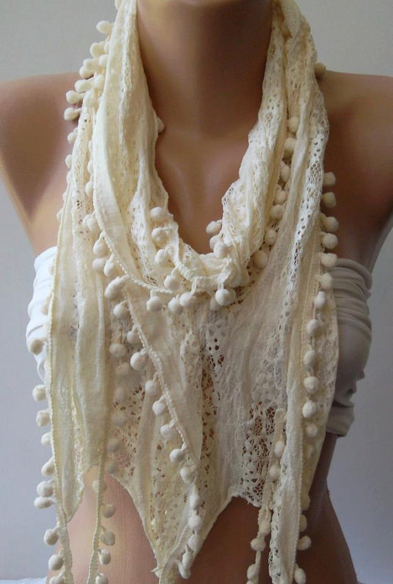 Ivory Beige -  Lace and Elegance Shawl / Scarf - with Pompom,