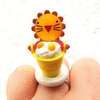 Lion Ring Cute Miniature Food Jewelry CIJ Christmasinjuly