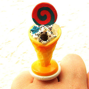 Kawaii  Ring  Miniature Food Ring Ice Cream Sundae CIJ Christmasinjuly