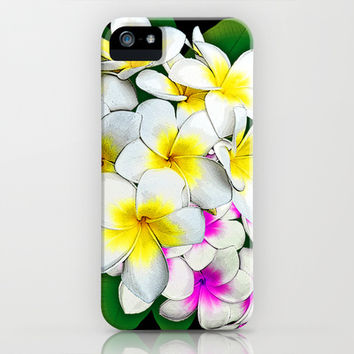 Plumeria Flowers Bouquet iPhone & iPod Case by Bluedarkat Lem