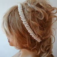 Wedding Headband, Pearl Headband, Bridal Headband,  Wedding Dress Accessory, Wedding Hair Accessory, Bridal Hair Accessory