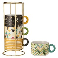 Oh Joy! Stoneware Stackable Mugs 4ct - Assorted Patterns