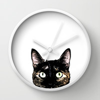 Peeking Cat Wall Clock by Nicklas Gustafsson