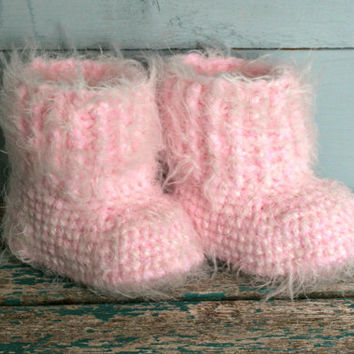 Pink winter snuggly baby crochet boots furry booties 6 months to 9 months Fluffy stroller bootys handmade gifts Christmas present