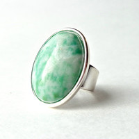 Mint Green Zing Jiang Jade Ring, Gemstone, Oval, Statement Ring, Adjustable, Cocktail Ring, Big Ring