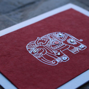 Set of 5 Gorgeous Rich Red Elephant Card - For any Occasion
