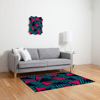 Sarah Bagshaw Blue And Pink Triangles Woven Rug