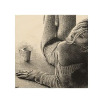 Woman and morning coffee Graphite Wood canvas