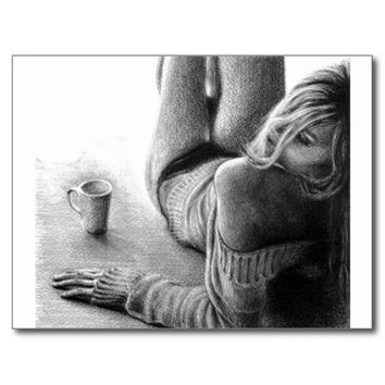 Woman and morning coffee Graphite Postcard