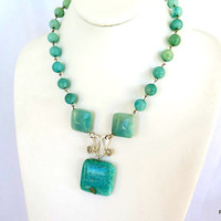 Amazonite tribal necklace, turquoise blue stone pendant, sterling silver fine jewelry, gift for her