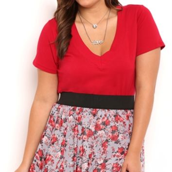 Plus Size Floral Chiffon Skirt with Elastic Waistband