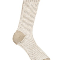 marled crew sock with crochet trim