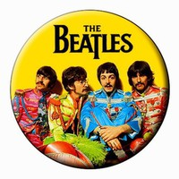 SGT PEPPER MAGNET The Beatles Large, Round,2.25 inch Flat-Backed Fridge Magnet