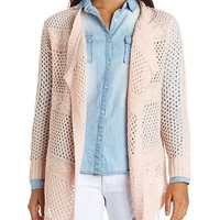 Cable-Striped Open Knit Cascade Cardigan Sweater