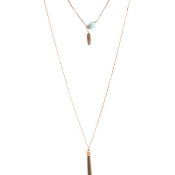 SMALL STONE PENDANT LAYERED NECKLACE - TURQUOISE