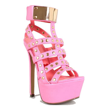 Cover-Girl Pink Open Toe Platform Pump Stiletto Heels